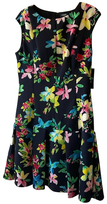 Item - Blue Navy and Floral Midi Short Casual Dress Size 12 (L)