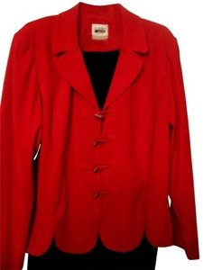 Leslie Fay RED BUSINESS SUIT W/ LOOK OF SUEDE