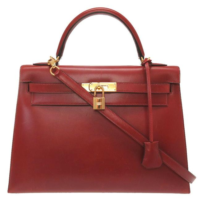 Item - Kelly Outer Sewing Gold Hardware Handbag Red Color / Rouge H Box Calf Leather Satchel