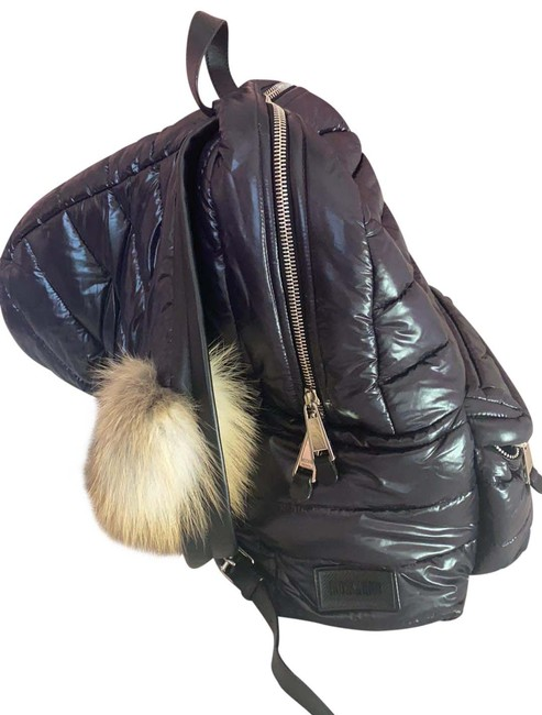 Item - Couture Fur Hood Black Nylon Backpack