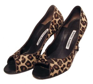 Manolo Blahnik Pony Hair Leopard Print Pumps
