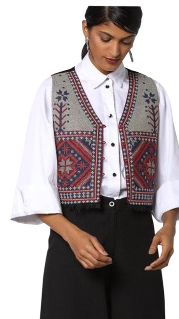 Item - Grey Red Woven Vest Size 4 (S)