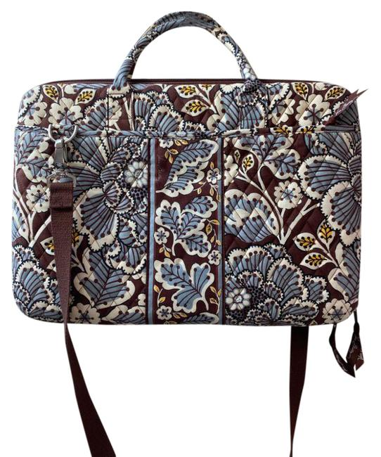 Item - Quilted Large Computer Case Blue Brown White Fabric Messenger Bag