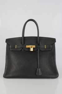 Hermès Fjord Leather Birkin Satchel in Black