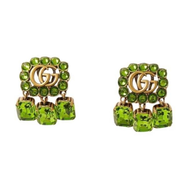 Item - Marmont Gg Logo Crystal Gold Tone Clip Earrings