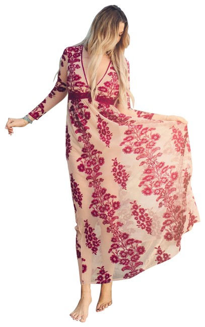 Item - Red Temecula Sleeve Embroidered Maxi In Wine Long Cocktail Dress Size 4 (S)