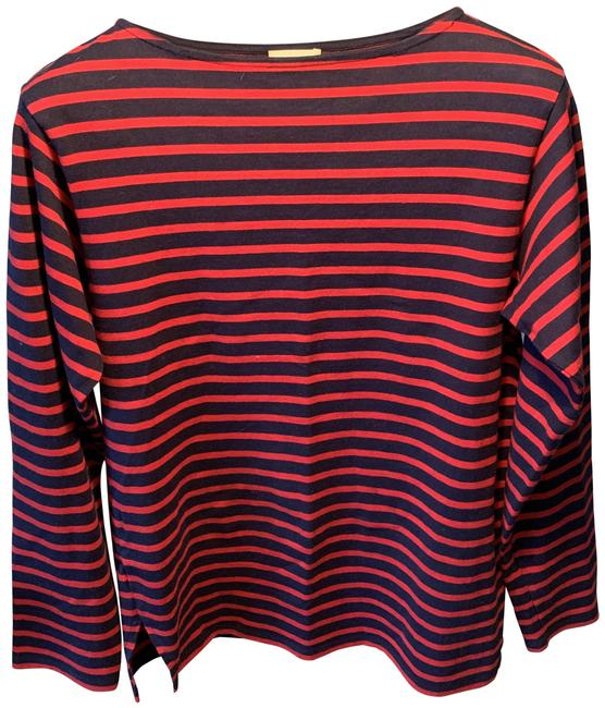 Item - Navy Blue/Red Ysl; Made In France Tee Shirt Size 8 (M)