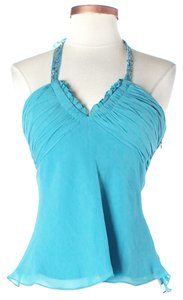 BCBGMAXAZRIA Embellished Silk Chiffon Top Turquoise Blue