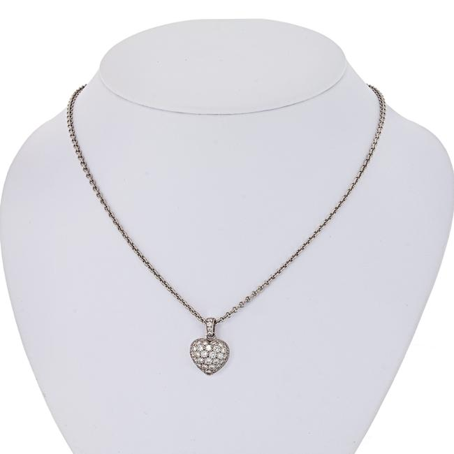 Item - White Gold Pave Diamond Heart On A Chain Pendant Necklace
