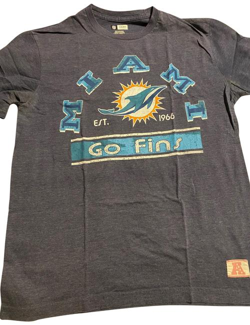 Item - Heathered Blue Miami Dolphins Tee Shirt Size 12 (L)