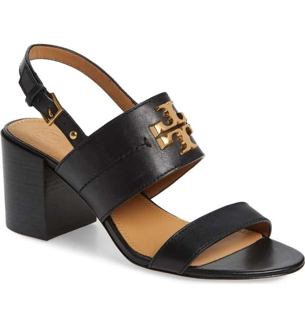 Item - Black / Gold Everly 65mm Calf Leather Sandals Size US 9 Regular (M, B)