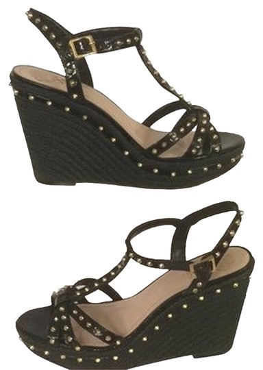 Vince Camuto Black And Gold Wedges