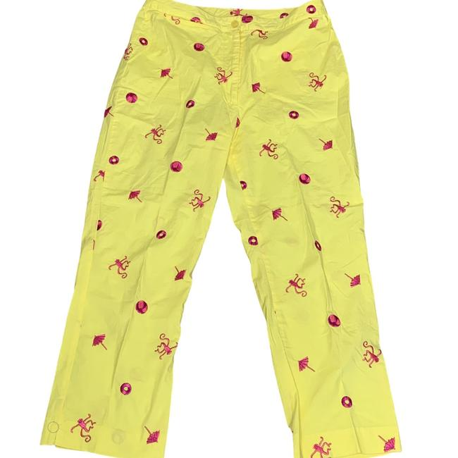 Item - Yellow Monkey Around Embroidered Mid Pants Size 4 (S, 27)