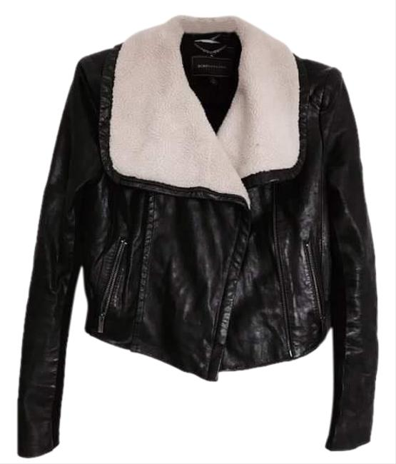 Item - Black Leather With Shearling Collar with Tag Xxs Jacket Size 00 (XXS)