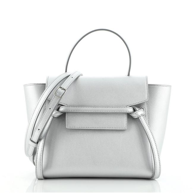 Item - Belt Bag Textured Nano Silver Leather Clutch
