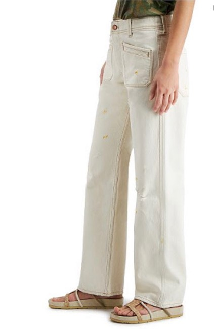 Item - Ivory Distressed Mid Rise Bootcut Straight Leg Jeans Size 24 (0, XS)