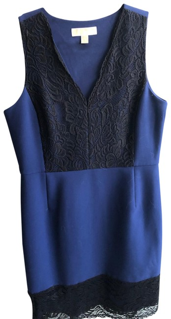 Item - Blue and Black Mid-length Night Out Dress Size 6 (S)