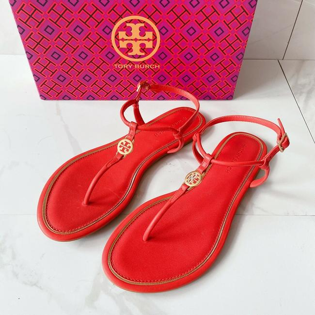 Item - Red Orange T Emmy Strap Thong Flat Samba Calf Leather Sandals Size US 7 Regular (M, B)