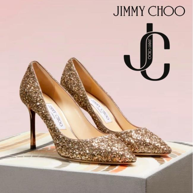 Item - Gold 85 Romy Pointed Toe Glitter Heel Antique Pumps Size US 8.5 Regular (M, B)