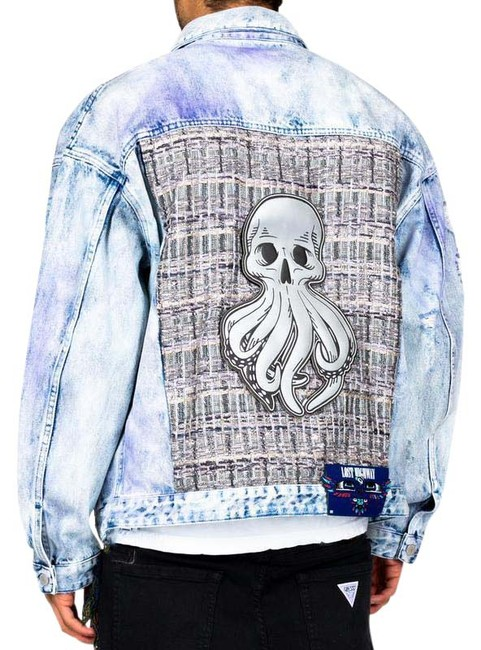 Item - Blue White L Logan with Applique On The Back Jacket Size 14 (L)