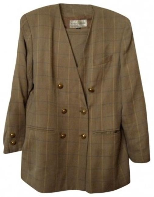 Casual Corner TAN STRIPE JACKET W/ SOLID TAN SKIRT