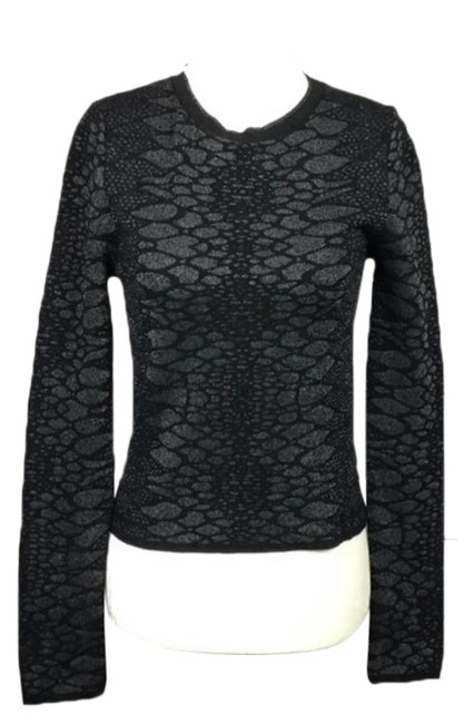 Item - Semi Cropped Knit Snakeskin Print Black/Silver Sweater