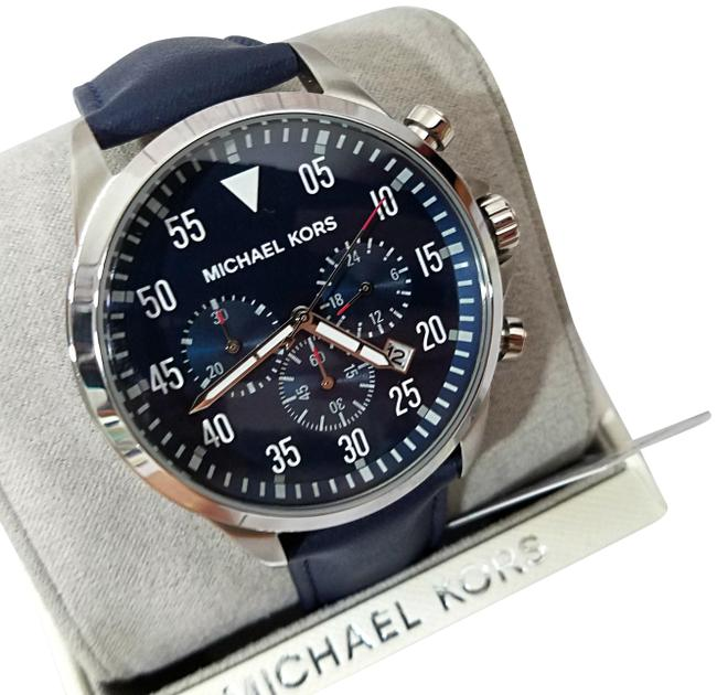 Item - Silver/Navy Men's Gage Stainless-steel and Leather Mk8617 Watch