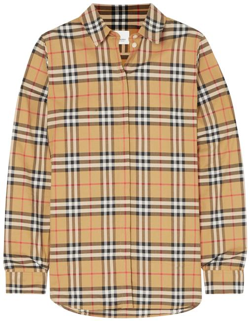 Burberry Beige Checked Cotton-poplin Shirt Blouse Size 4 (S) Burberry Beige Checked Cotton-poplin Shirt Blouse Size 4 (S) Image 1