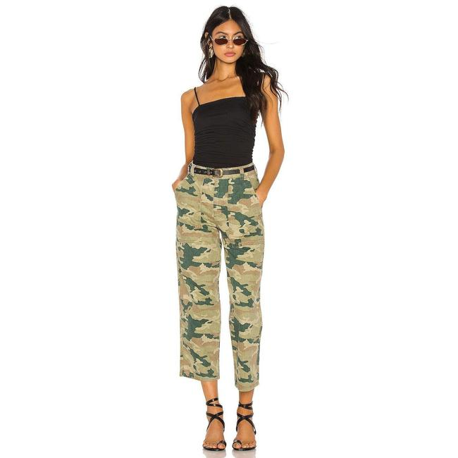 Item - Green Dark Rinse Remy Camouflage Camo Crop Pants Straight Leg Jeans Size 26 (2, XS)
