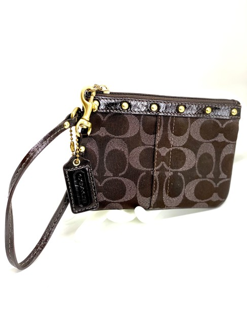 Item - Signature Studded #42097 Brown Canvas Wristlet