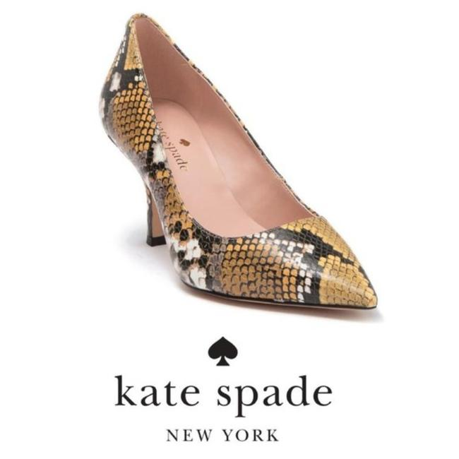 Item - Gold Black Sonia Snakeskin Embossed Leather Pointed Toe Style # K1356 Pumps Size US 7 Regular (M, B)