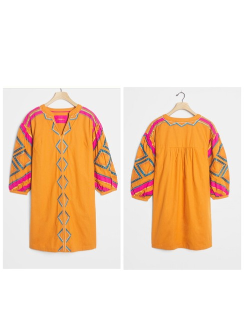 Item - Orange/Pink Stasiana Embroidered Tunic Mid-length Short Casual Dress Size 4 (S)