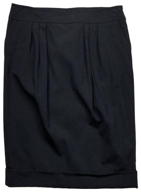 Item - Black Pleated Front Cuff Pencil Skirt Size 4 (S, 27)