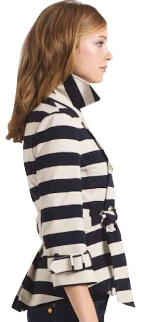 Item - Tan Step Out In Stripes: Bow-back Pea Coat Blazer Size 12 (L)