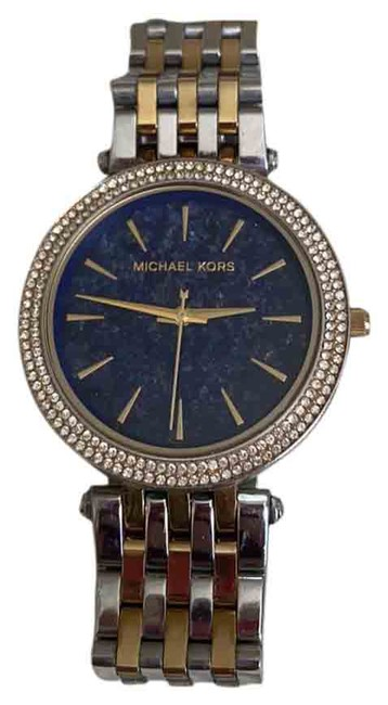 Item - Silver Gold Blue Two Tone Crystal Face Watch