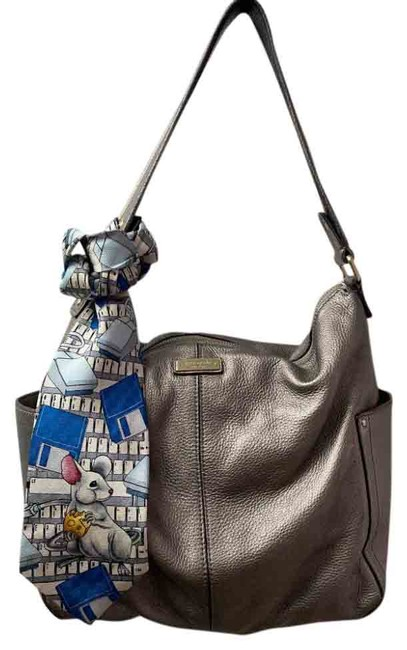Item - Bag W Large W/ Detachable Tie Accent Gray Silver Tote