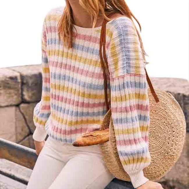 Item - Boat Neck Knit White Pink Yellow Sweater