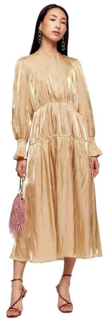 Item - Gold Ruched Mid-length Night Out Dress Size 4 (S)