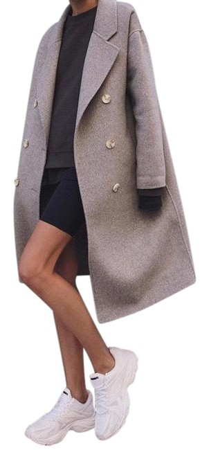 Item - Cream Taupe Wool Double Breasted Coat Size 8 (M)