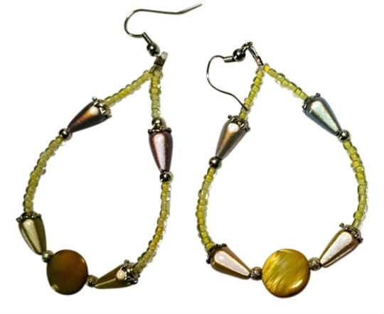 Other New Handmade Beaded Hoop Earrings Yellow Silver J881