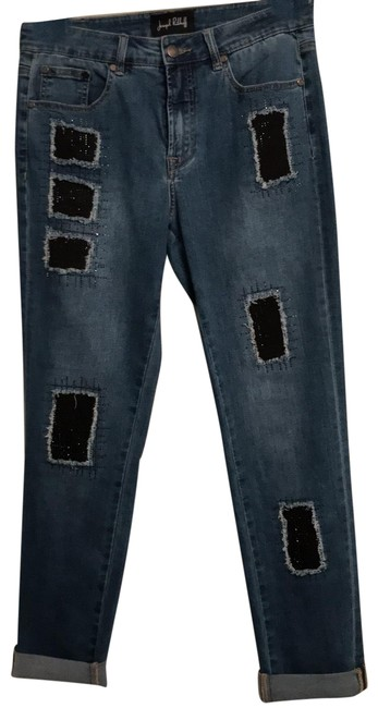 Item - Medium Blue with Black Details Distressed 7 Fabric Inserts On Front. Straight Leg Jeans Size 10 (M, 31)
