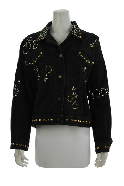Item - Black Jean Studded Large Jacket Size 12 (L)