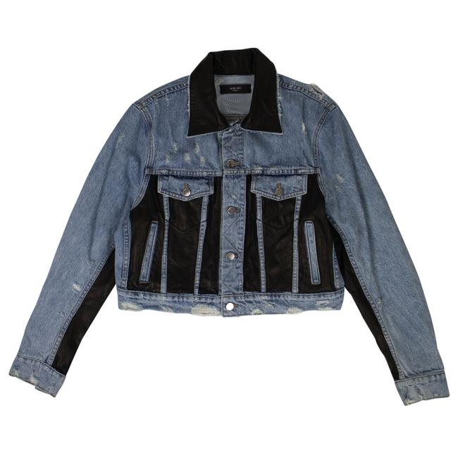 Item - Blue Leather Panel Trucker Jacket Size 4 (S)