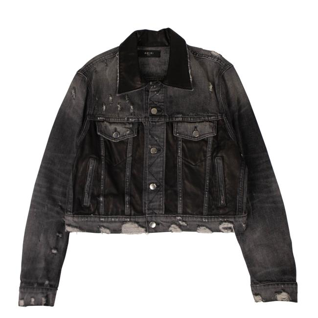 Item - Black Leather Panel Trucker Jacket Size 4 (S)