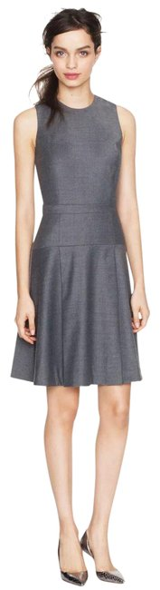 Item - Grey Pleated Stretch Flannel Wool Mid-length Work/Office Dress Size 0 (XS)