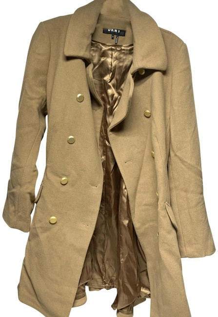 Item - Beige Double Breasted Fit & Flare Coat Size Petite 14 (L)