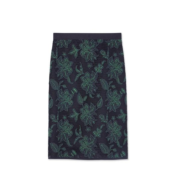 Item - Navy Green Wisteria Fishnet Skirt Size 8 (M, 29, 30)