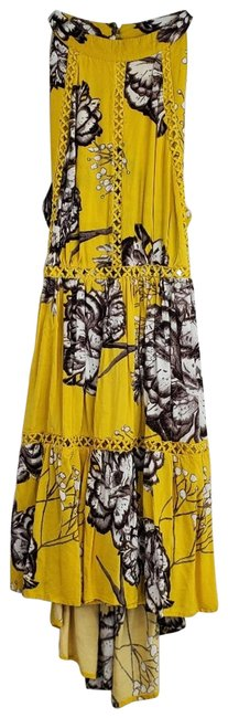 Item - Yellow Boho Floral Open Back Tiered Short Casual Dress Size 4 (S)