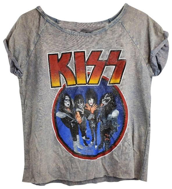 Item - Gray Graphic Band Crop Crew Neck Tee Shirt Size 12 (L)