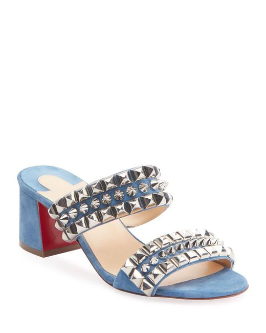 Item - Blue Jeans Tina Goes Mad 55 Studded Suede Slide Mules Sandals Size EU 36 (Approx. US 6) Regular (M, B)